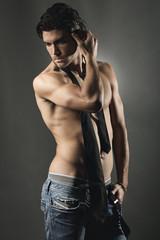 Studio shot of an handsome man shirtless
