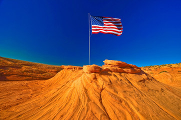 American flag in Grand Canyon, USA