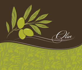 olive. Decorative olive branch. For label, pack. Olive pattern.
