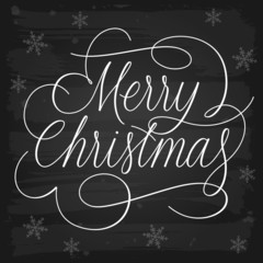 Merry Christmas Greetings Slogan on Chalkboard