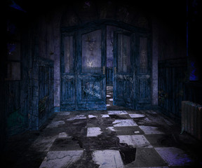 Blue Scary Interior Background