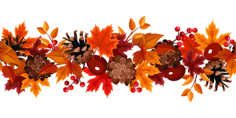 Horizontal seamless background with autumn leaves. Vector.