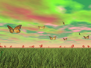 Monarch butterflies in nature - 3D render