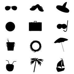 beach icon set art vector illustration