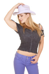 cowgirl hold purple hat and pants side