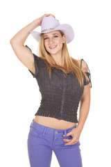 cowgirl purple hat and pants hold belt loop