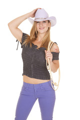 cowgirl purple hat hold with rope