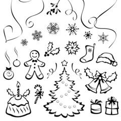 Stylized Christmas elements