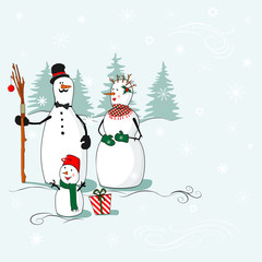 Greeting card with a snowmen