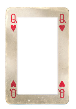 paper frame from queen of hearts playing card