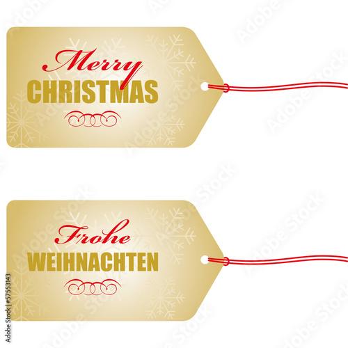 Frohe Weihnachten Anhänger.Merry Christmas Frohe Weihnachten Anhänger In Gold Stockfotos Und