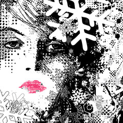 Printed roller blinds Woman face abstract illustration of a winter woman