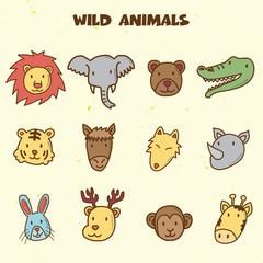 wild animals doodle icons