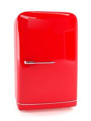 Retro red refrigerator isolated on white. Classic fridge