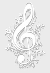 Abstract musical background with treble clef in cut of paper sty