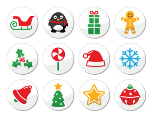 Christmas vector round icons set