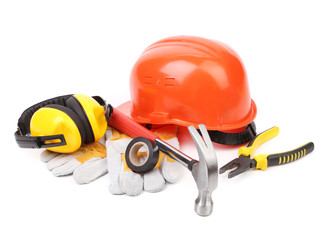Red hard head gloves and tools