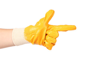Rubber protective glove show sign like a gun