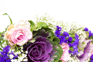 Blumendekoration blau rosa 4