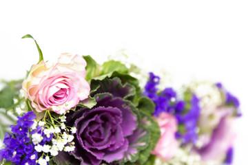 Blumendekoration blau rosa 5
