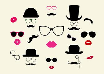 Hats, Moustaches, Eyeglasses, Lips Vector Icon Set