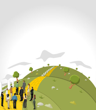 Business people on Yellow Brick Road on green hill