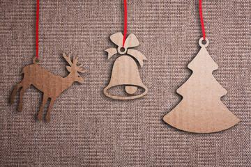 Christmas background with Christmas decoration, illustration.