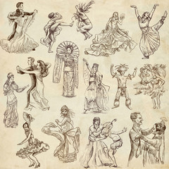 Dancing people around the World 1 - hand drawings on old paper