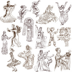 Dancing people around the World 1 - hand drawings