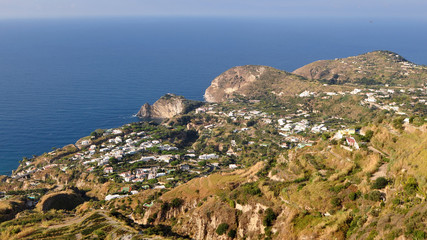 aerial view of village Panza,Ischia island in Italy