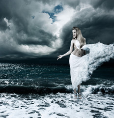 Mystic Goddess in Stormy Sea