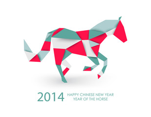 Poster Geometric animals Chinese new year of the Horse abstract triangle illustration.