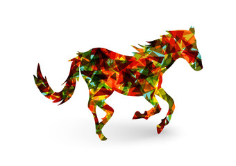 Poster Geometric animals Chinese new year of the Horse abstract triangle EPS10 file.