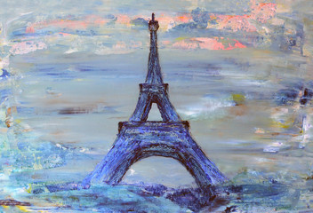 Eiffel Tower from Paris painted on paper