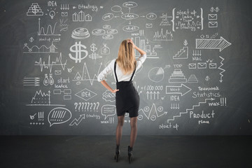 businesswoman look at Doodle finance business elements