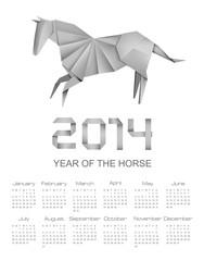 Calendar for the year 2014. Origami horse. Vector illustration.
