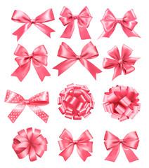 Big set of pink gift bows and ribbons. Vector illustration.