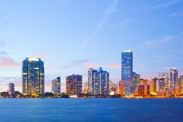 Keuken foto achterwand Sydney City of Miami Florida, colorful night panorama
