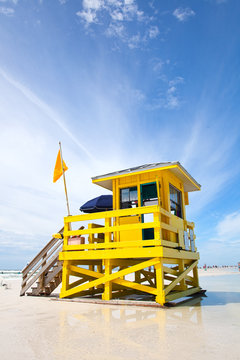 Siesta Key Beach, Florida USA, colorful lifeguard house