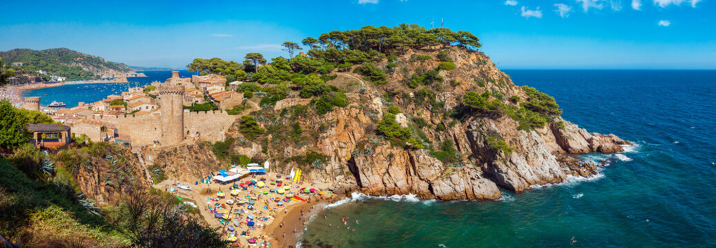 Panoramic view of the medieval castle in Tossa de Mar, Spain