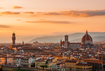 Golden sunset over Florence, Italy Wall mural