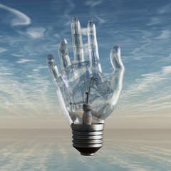 Hand bulb and sky