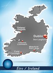 Inselkarte von Irland Abstrakter Hintergrund in Blau