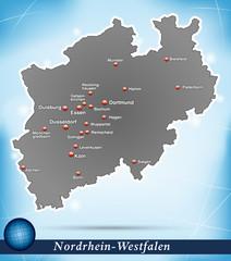 Inselkarte von Nordrhein-Westfalen Abstrakter Hintergrund in Bla