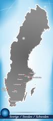 Inselkarte von Schweden Abstrakter Hintergrund in Blau