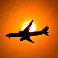 Aircraft in the sunset