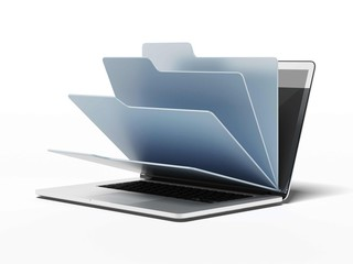 Laptop with blue folders Wall mural