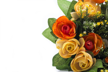 closeup of colorful spring flowers bouquet isolated on white