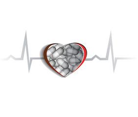 Human heart, cardiogram and pills