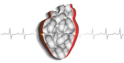 Human heart and pills
